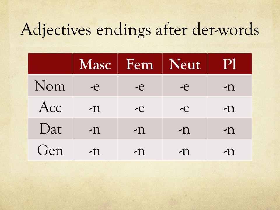 Adjectives endings after der-words MascFemNeutPl Nom-e -n Acc-n-e -n Dat-n Gen-n