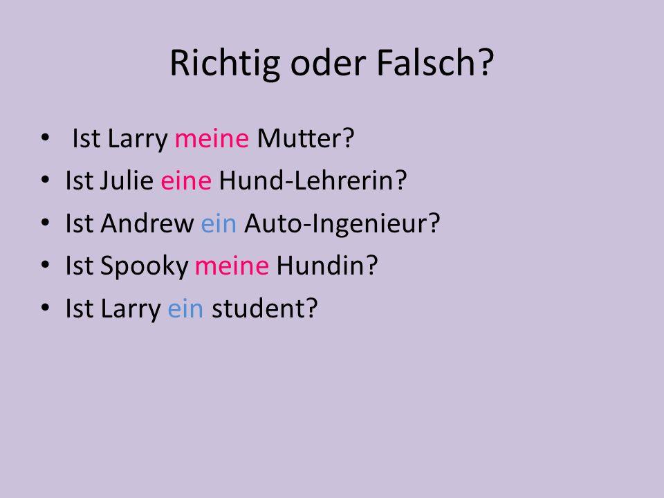 Richtig oder Falsch? Ist Larry meine Mutter? Ist Julie eine Hund-Lehrerin? Ist Andrew ein Auto-Ingenieur? Ist Spooky meine Hundin? Ist Larry ein stude