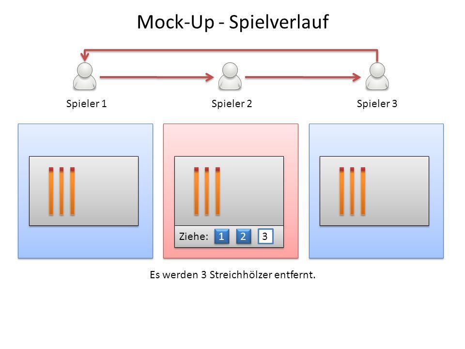 Spieler 1Spieler 2Spieler 3 Ziehe: 1 1 2 2 3 Es werden 3 Streichhölzer entfernt. Mock-Up - Spielverlauf