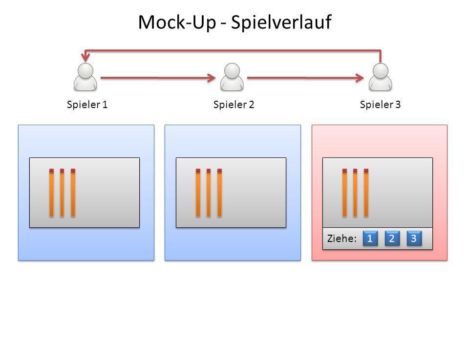 Spieler 1Spieler 2Spieler 3 Ziehe: 1 1 2 2 3 3 Mock-Up - Spielverlauf