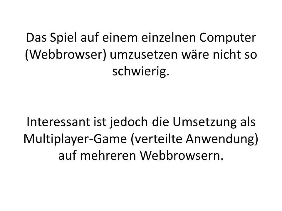 Das Spiel auf einem einzelnen Computer (Webbrowser) umzusetzen wäre nicht so schwierig. Interessant ist jedoch die Umsetzung als Multiplayer-Game (ver