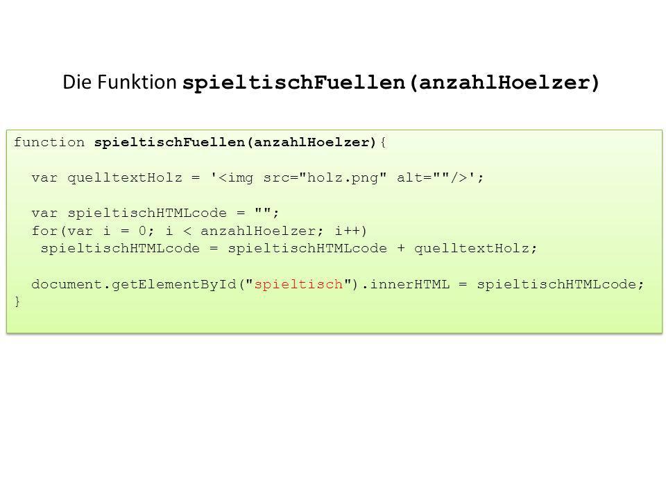 Die Funktion spieltischFuellen(anzahlHoelzer) function spieltischFuellen(anzahlHoelzer){ var quelltextHolz = ' '; var spieltischHTMLcode =