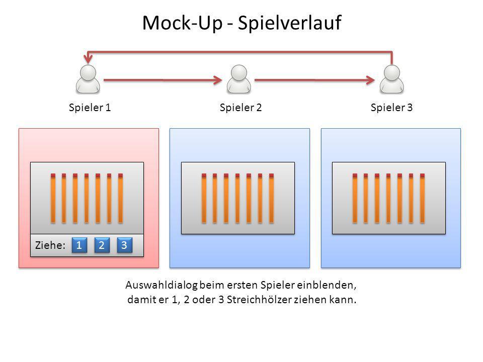 Spieler 1Spieler 2Spieler 3 Ziehe: 1 1 2 2 3 3 Auswahldialog beim ersten Spieler einblenden, damit er 1, 2 oder 3 Streichhölzer ziehen kann. Mock-Up -