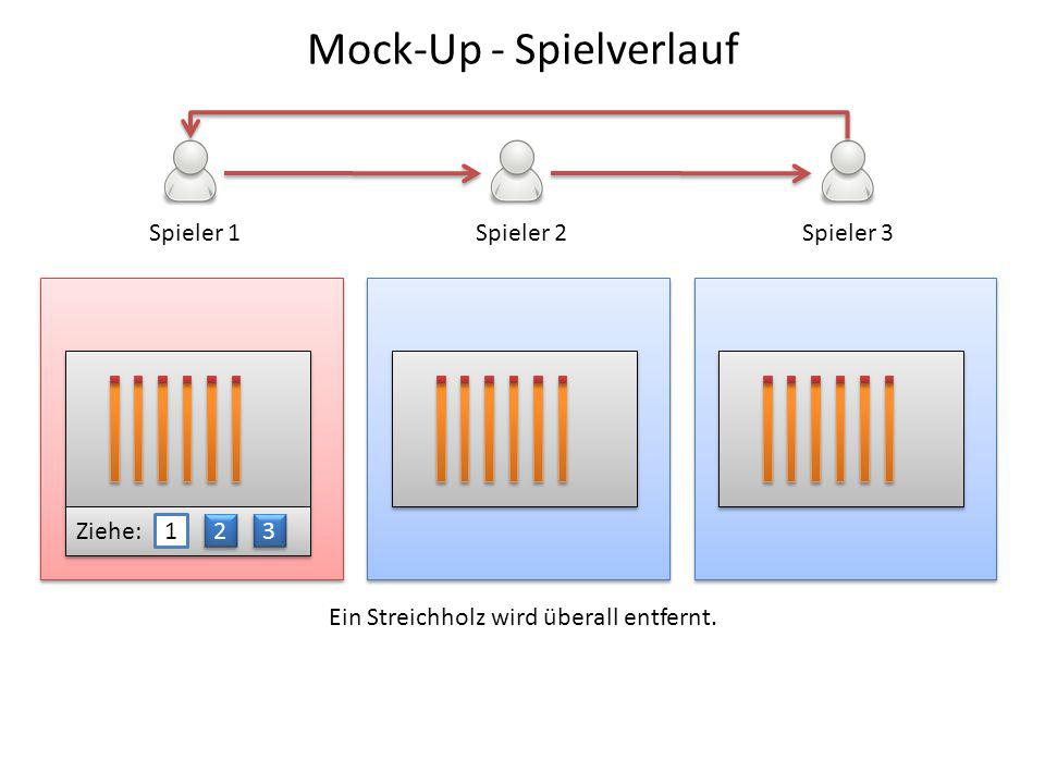 Spieler 1Spieler 2Spieler 3 Ziehe: 1 2 2 3 3 Ein Streichholz wird überall entfernt. Mock-Up - Spielverlauf