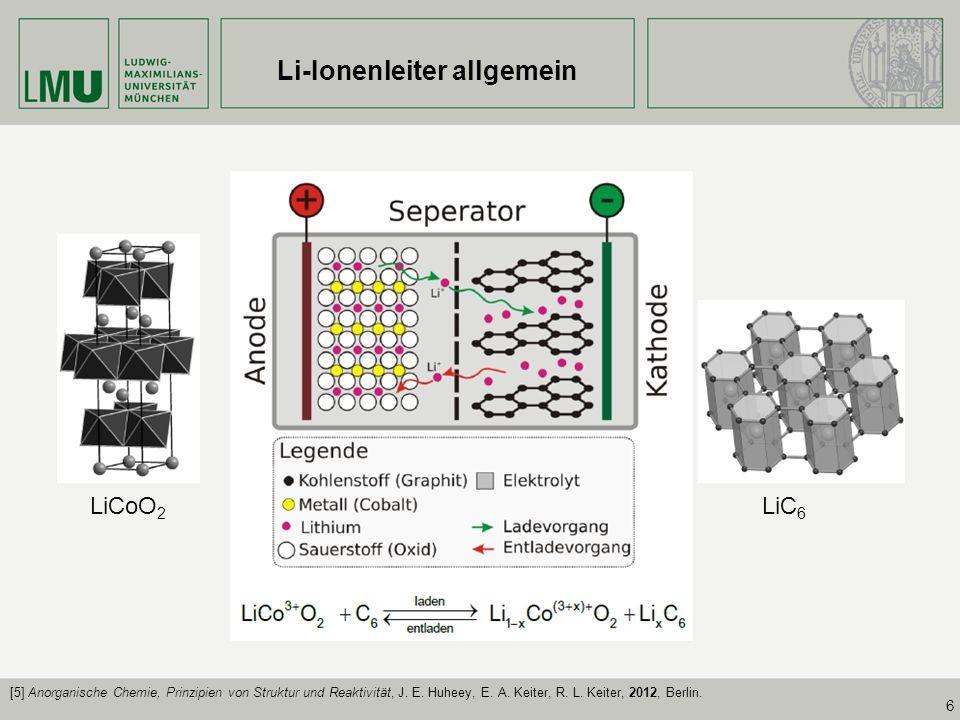 6 Li-Ionenleiter allgemein [1] LiCoO 2 LiC 6 [5] Anorganische Chemie, Prinzipien von Struktur und Reaktivität, J. E. Huheey, E. A. Keiter, R. L. Keite