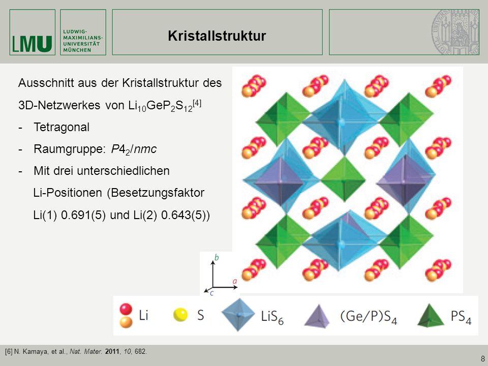 8 Kristallstruktur Ausschnitt aus der Kristallstruktur des 3D-Netzwerkes von Li 10 GeP 2 S 12 [4] -Tetragonal -Raumgruppe: P4 2 /nmc -Mit drei untersc
