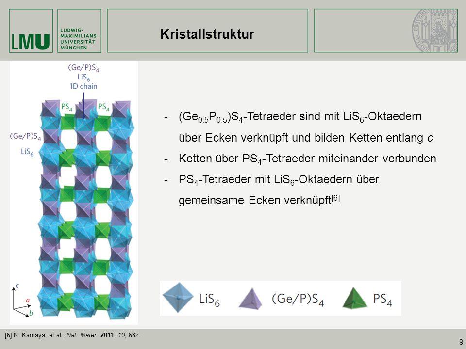 9 -(Ge 0.5 P 0.5 )S 4 -Tetraeder sind mit LiS 6 -Oktaedern über Ecken verknüpft und bilden Ketten entlang c -Ketten über PS 4 -Tetraeder miteinander v