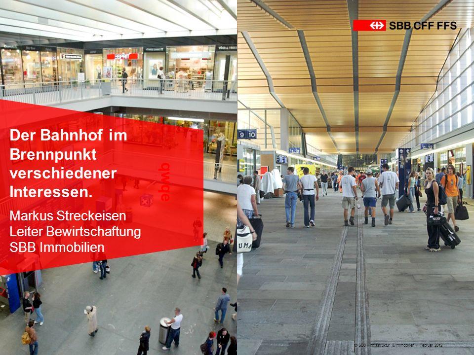 © SBB Infrastruktur & Immobilien Februar 2012 Der Bahnhof im Brennpunkt verschiedener Interessen. Markus Streckeisen Leiter Bewirtschaftung SBB Immobi