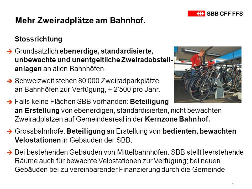 10 Stossrichtung Grundsätzlich ebenerdige, standardisierte, unbewachte und unentgeltliche Zweiradabstell- anlagen an allen Bahnhöfen. Schweizweit steh