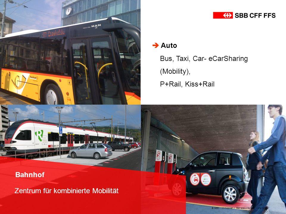 © SBB Immobilien Betriebswirtschaft Mai 2012 Bahnhof Zentrum für kombinierte Mobilität Auto Bus, Taxi, Car- eCarSharing (Mobility), P+Rail, Kiss+Rail