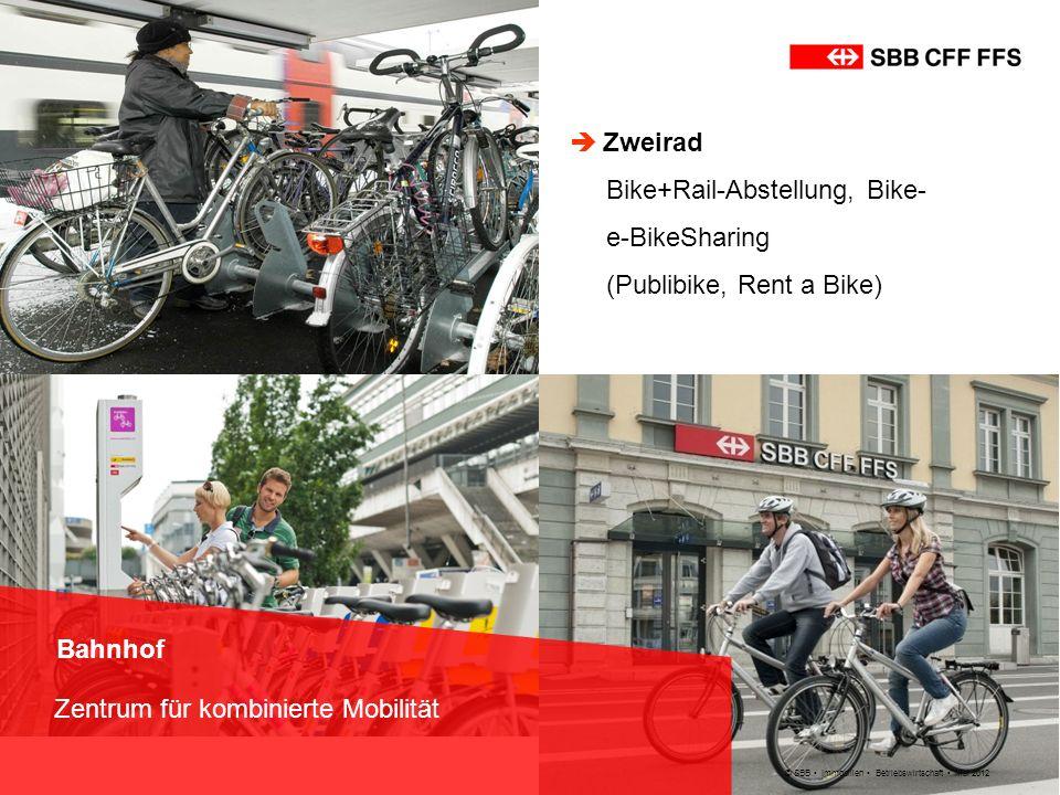 © SBB Immobilien Betriebswirtschaft Mai 2012 Bahnhof Zentrum für kombinierte Mobilität Zweirad Bike+Rail-Abstellung, Bike- e-BikeSharing (Publibike, R