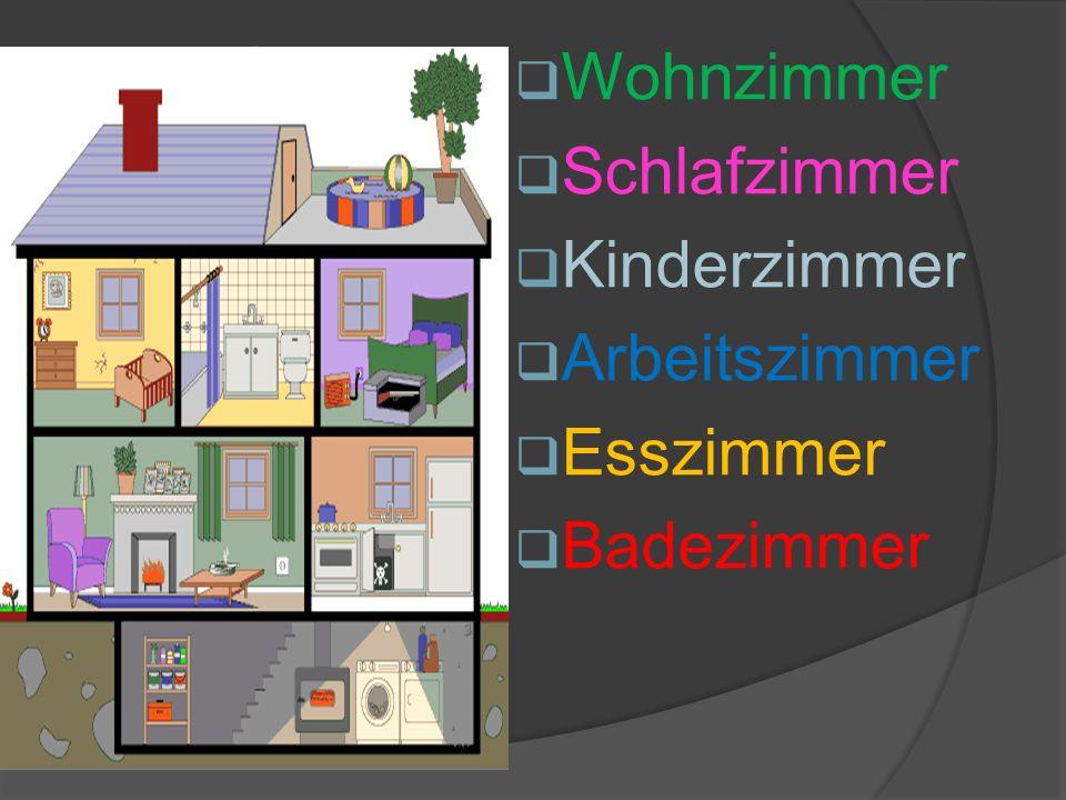 Wohnzimmer Schlafzimmer Kinderzimmer Arbeitszimmer Esszimmer Badezimmer in der Wohnung Die Zimmer