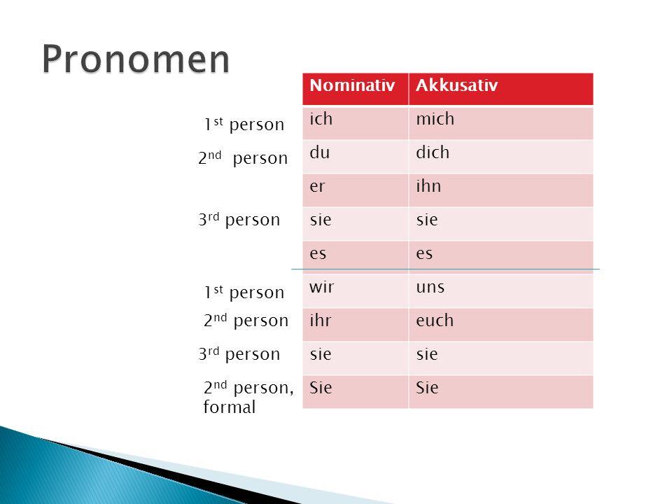NominativAkkusativ ichmich dudich erihn sie es wiruns ihreuch sie Sie 1 st person 2 nd person 3 rd person 1 st person 2 nd person 3 rd person 2 nd per