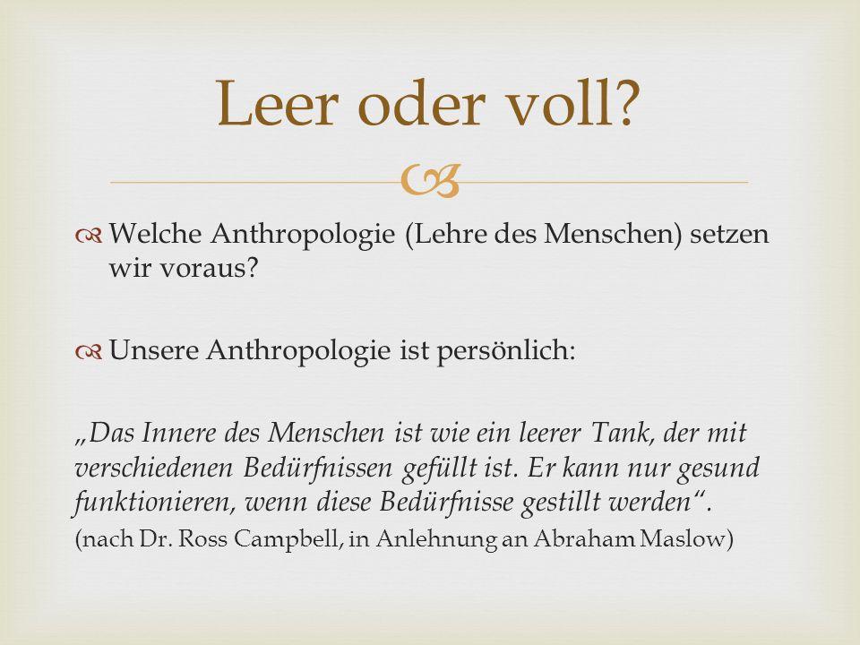 Welche Anthropologie (Lehre des Menschen) setzen wir voraus.