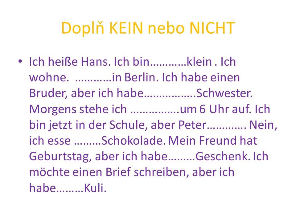 Zkontroluj Ich heiße Hans.Ich bin nicht klein. Ich wohne nicht in Berlin.