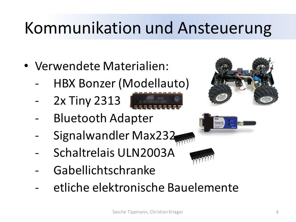 Kommunikation und Ansteuerung Verwendete Materialien: -HBX Bonzer (Modellauto) -2x Tiny 2313 -Bluetooth Adapter -Signalwandler Max232 -Schaltrelais UL
