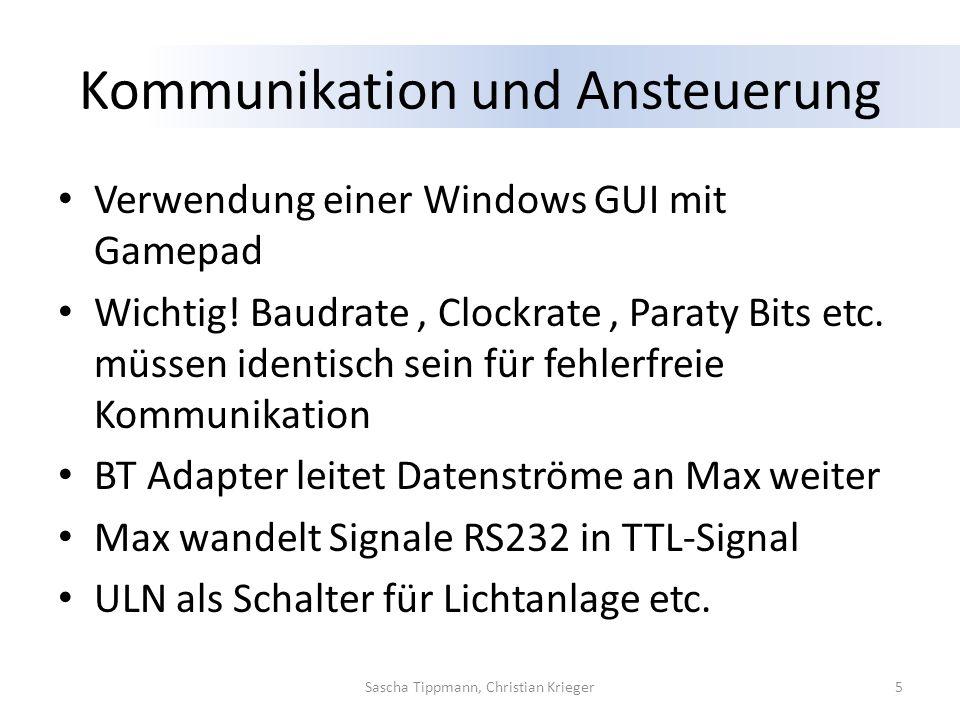 Kommunikation und Ansteuerung Verwendung einer Windows GUI mit Gamepad Wichtig! Baudrate, Clockrate, Paraty Bits etc. müssen identisch sein für fehler