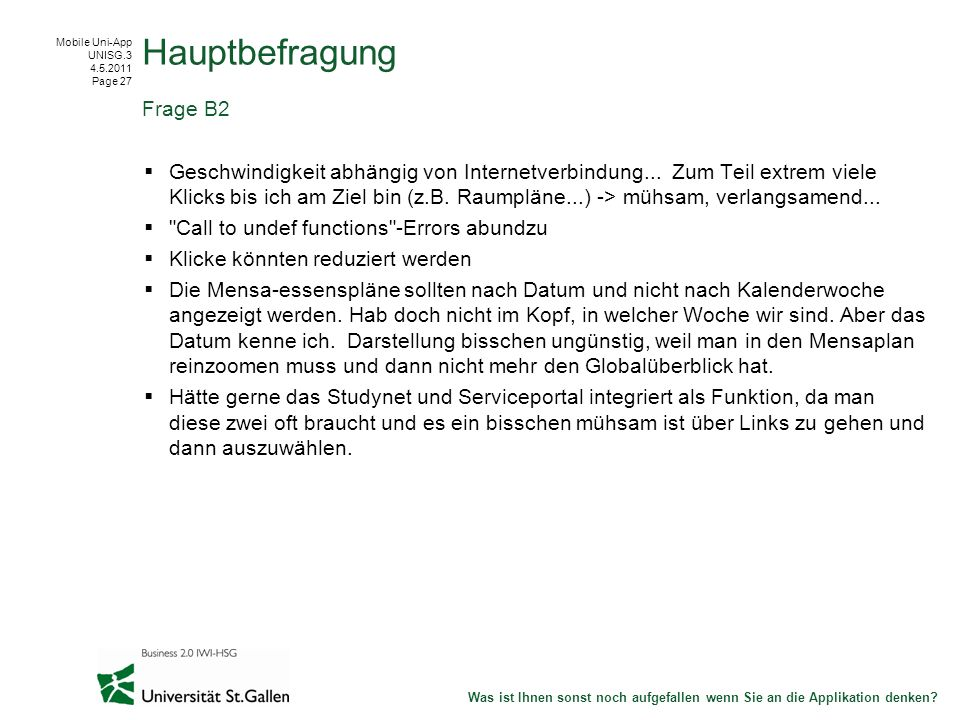 Mobile Uni-App UNISG.3 4.5.2011 Page 27 Geschwindigkeit abhängig von Internetverbindung...