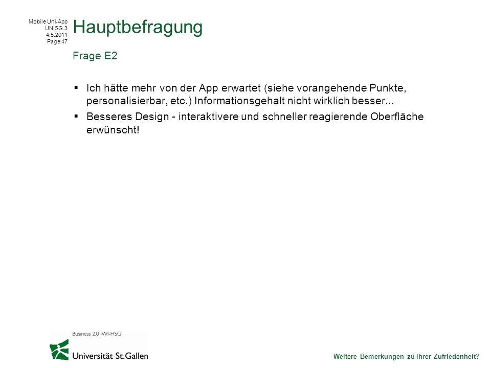 Mobile Uni-App UNISG.3 4.5.2011 Page 47 Ich hätte mehr von der App erwartet (siehe vorangehende Punkte, personalisierbar, etc.) Informationsgehalt nicht wirklich besser...