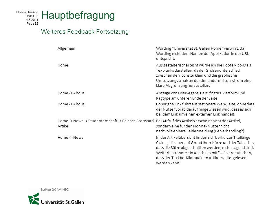 Mobile Uni-App UNISG.3 4.5.2011 Page 52 Hauptbefragung Weiteres Feedback Fortsetzung AllgemeinWording Universität St.
