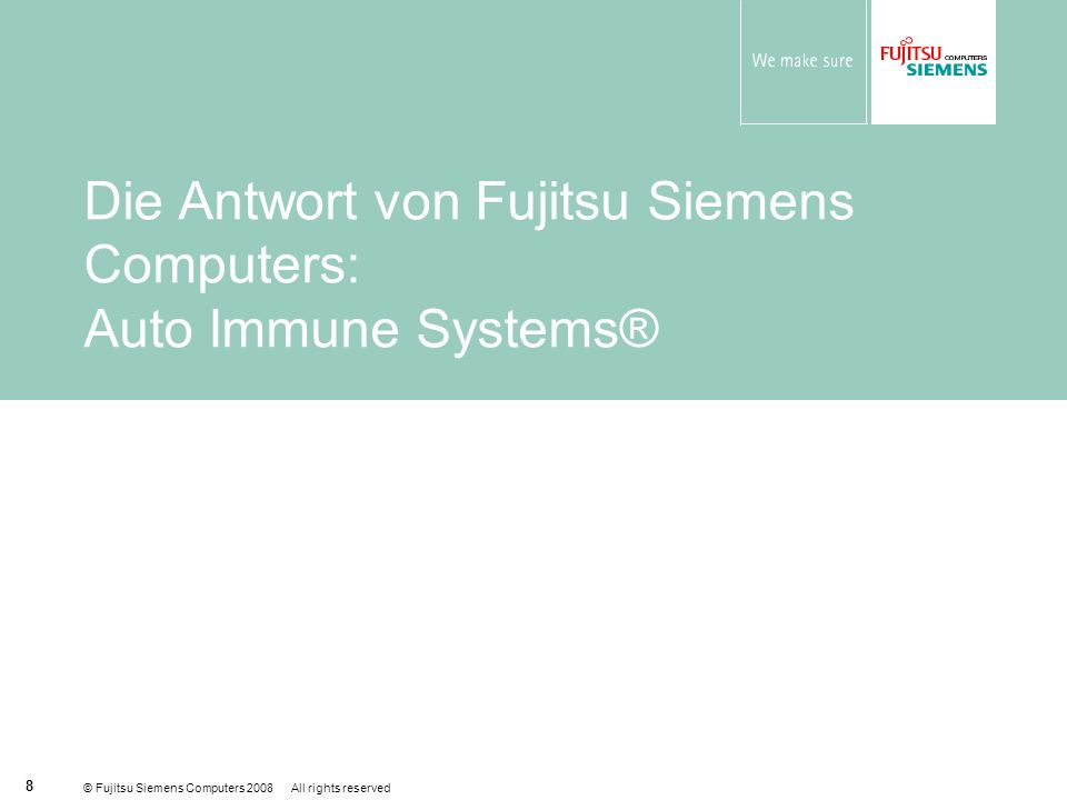 © Fujitsu Siemens Computers 2008 All rights reserved 19 Signature of symptom Demonstration: Auto Immune Systems ® Example for FSC PC HW Solution: Hard Drive Failure Issue Diagnosis Script SMART [Physical] ChkDsk [File System] Driver & BIOS Version [Compatibility] Raise Incident Escalate Engineer attends site with the correct part & replaces drive Phase: Induce Error Into System Event Phase: Detect Symptoms of Impending System Failure Phase: System Diagnosis Phase: Request Engineering Intervention Backup / restore support