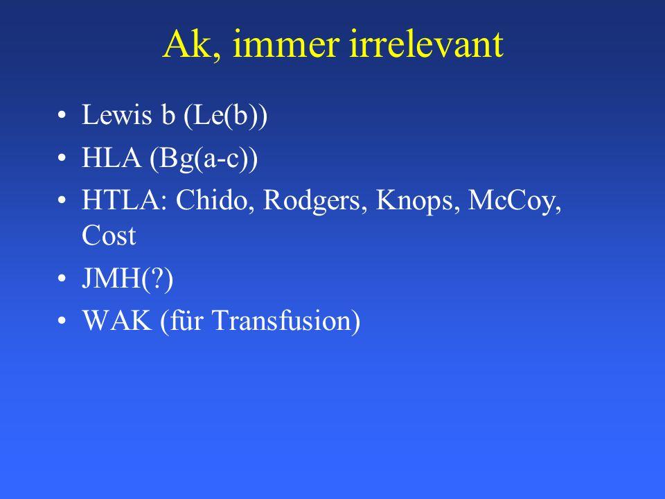 Ak, immer irrelevant Lewis b (Le(b)) HLA (Bg(a-c)) HTLA: Chido, Rodgers, Knops, McCoy, Cost JMH(?) WAK (für Transfusion)