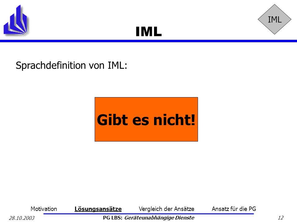 PG LBS: Geräteunabhängige Dienste 12 28.10.2003 IML Sprachdefinition von IML: Gibt es nicht! Motivation Lösungsansätze Vergleich der Ansätze Ansatz fü