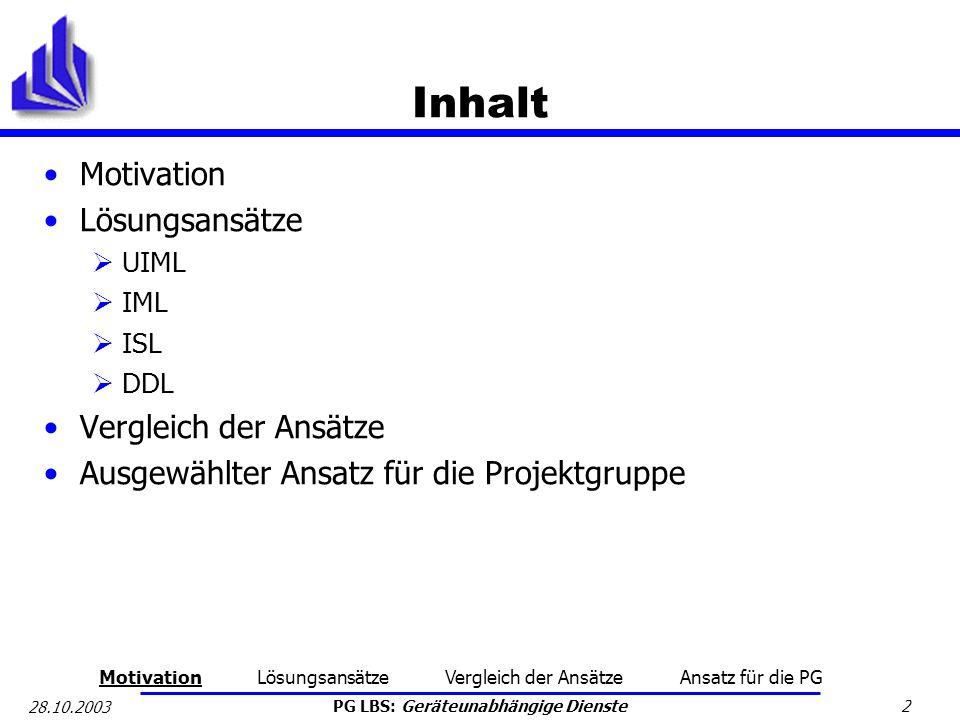 PG LBS: Geräteunabhängige Dienste 2 28.10.2003 Inhalt Motivation Lösungsansätze UIML IML ISL DDL Vergleich der Ansätze Ausgewählter Ansatz für die Pro