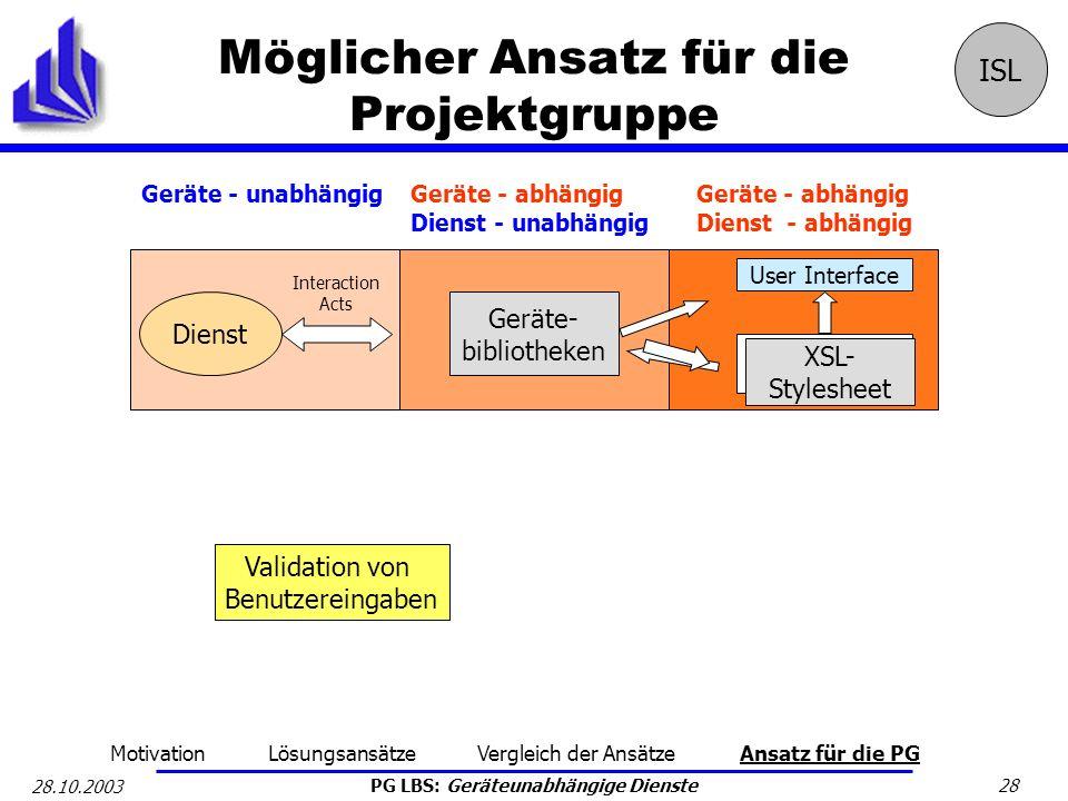 PG LBS: Geräteunabhängige Dienste 28 28.10.2003 Möglicher Ansatz für die Projektgruppe ISL Geräte - abhängig Dienst - unabhängig Geräte - abhängig Die