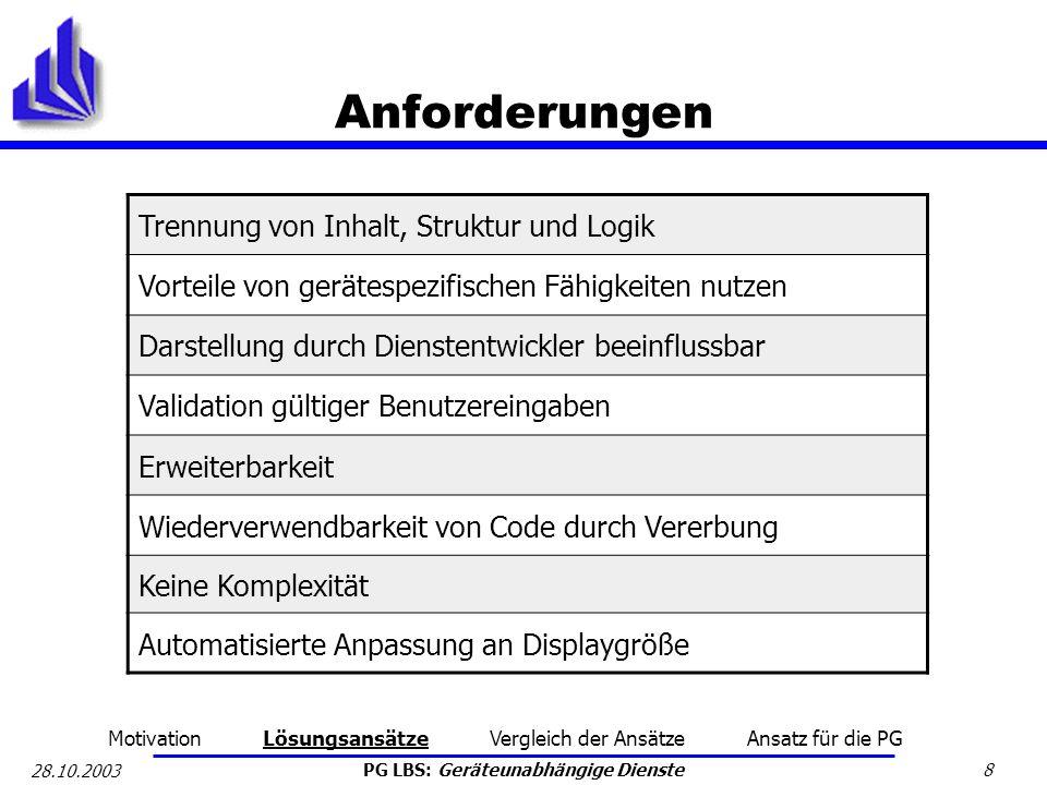 PG LBS: Geräteunabhängige Dienste 8 28.10.2003 Anforderungen Trennung von Inhalt, Struktur und Logik Vorteile von gerätespezifischen Fähigkeiten nutze