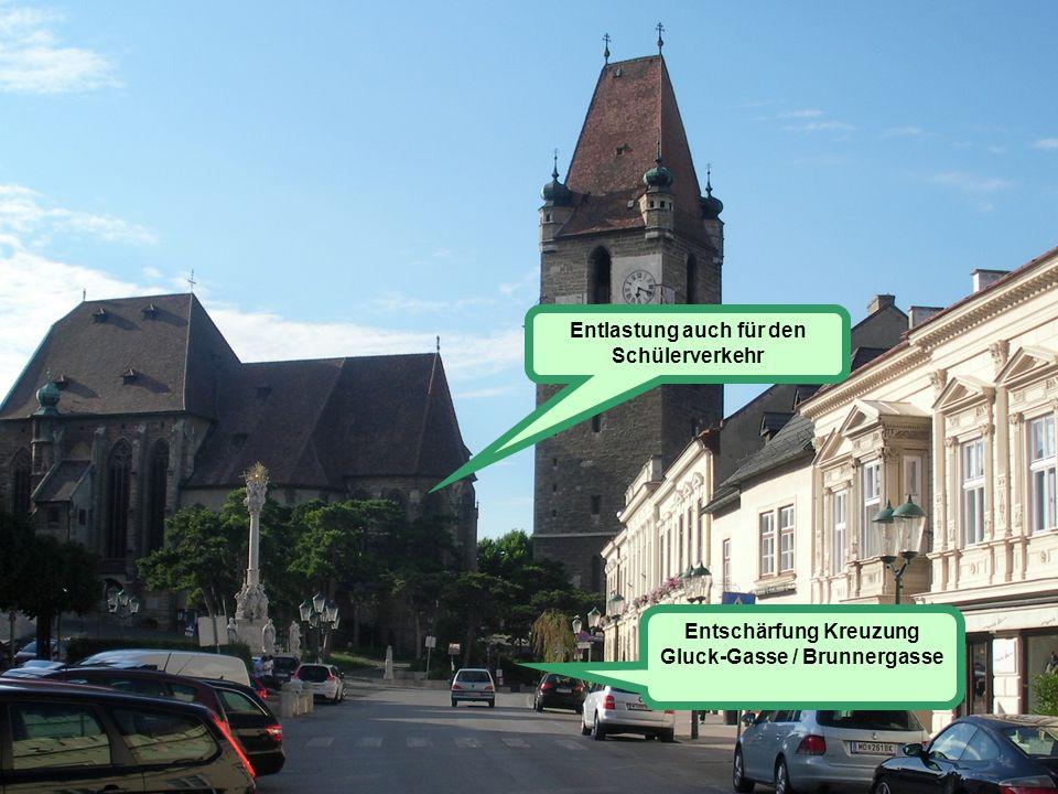 Der Lösungsansatz beginnt im Ortskern Die Zufahrten Die Abfahrten Hauptzufahrt Ortskern Abfließender Verkehr aus dem Sonnbergviertel über Hochstraße u