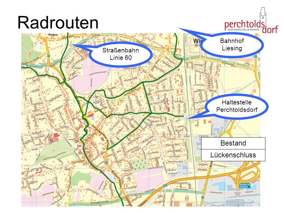 Radrouten Haltestelle Perchtoldsdorf Bahnhof Liesing Straßenbahn Linie 60 Bestand Lückenschluss