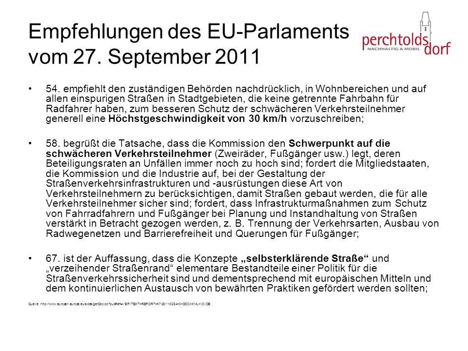 Empfehlungen des EU-Parlaments vom 27. September 2011 54. empfiehlt den zuständigen Behörden nachdrücklich, in Wohnbereichen und auf allen einspurigen
