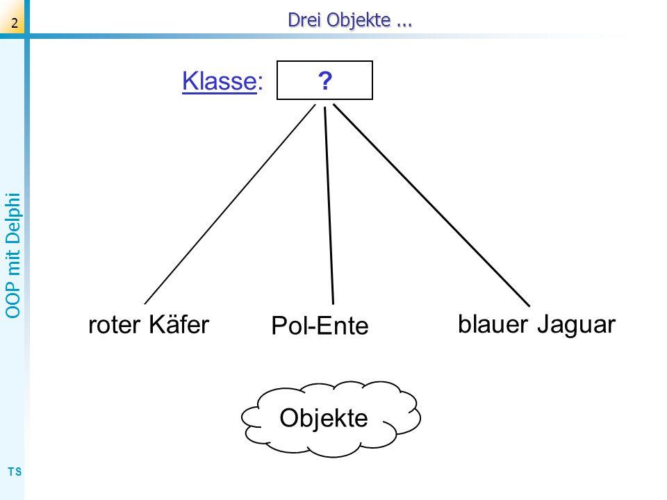 TS OOP mit Delphi 3 Drei Objekte von einer gemeinsamen Klasse Objekte: Pol-Ente blauer Jaguar roter Käfer Klasse: .