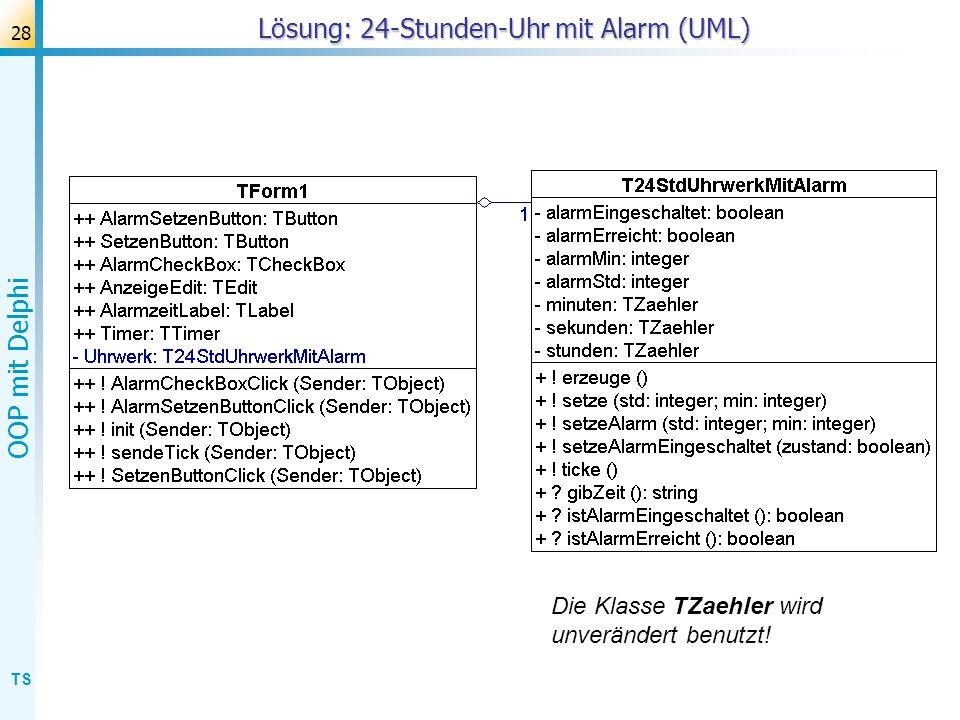 TS OOP mit Delphi 28 Lösung: 24-Stunden-Uhr mit Alarm (UML) Die Klasse TZaehler wird unverändert benutzt!