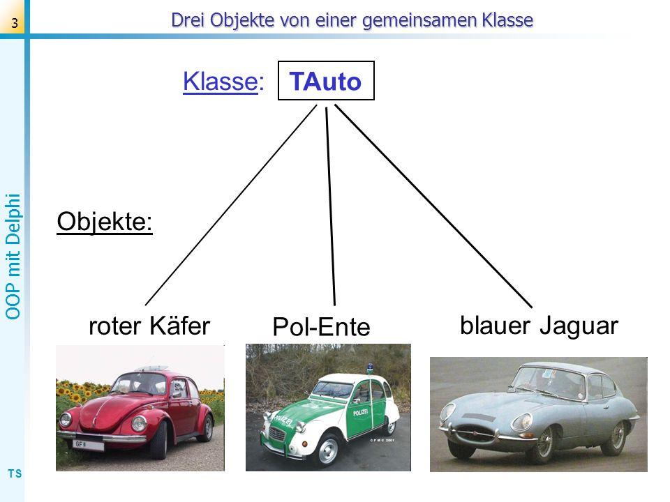 TS OOP mit Delphi 3 Drei Objekte von einer gemeinsamen Klasse Objekte: Pol-Ente blauer Jaguar roter Käfer Klasse: ? TAuto