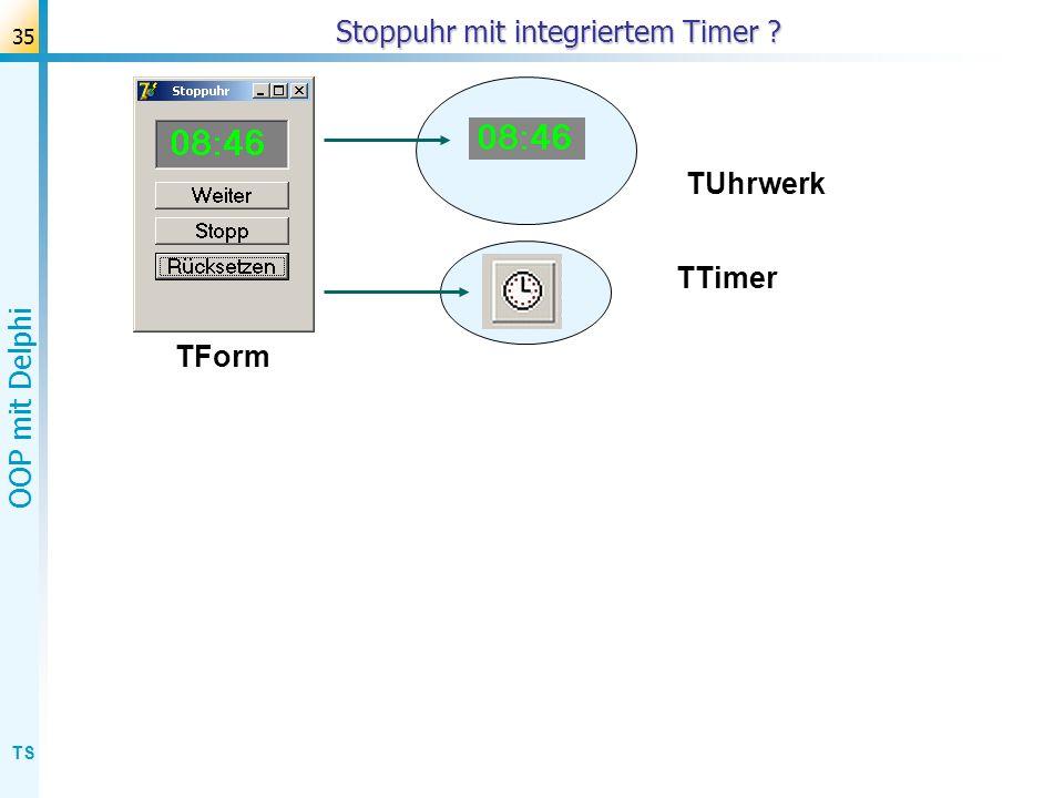 TS OOP mit Delphi 36 Stoppuhr mit integriertem Timer TUhrwerk TForm TTimer mit TStoppUhr