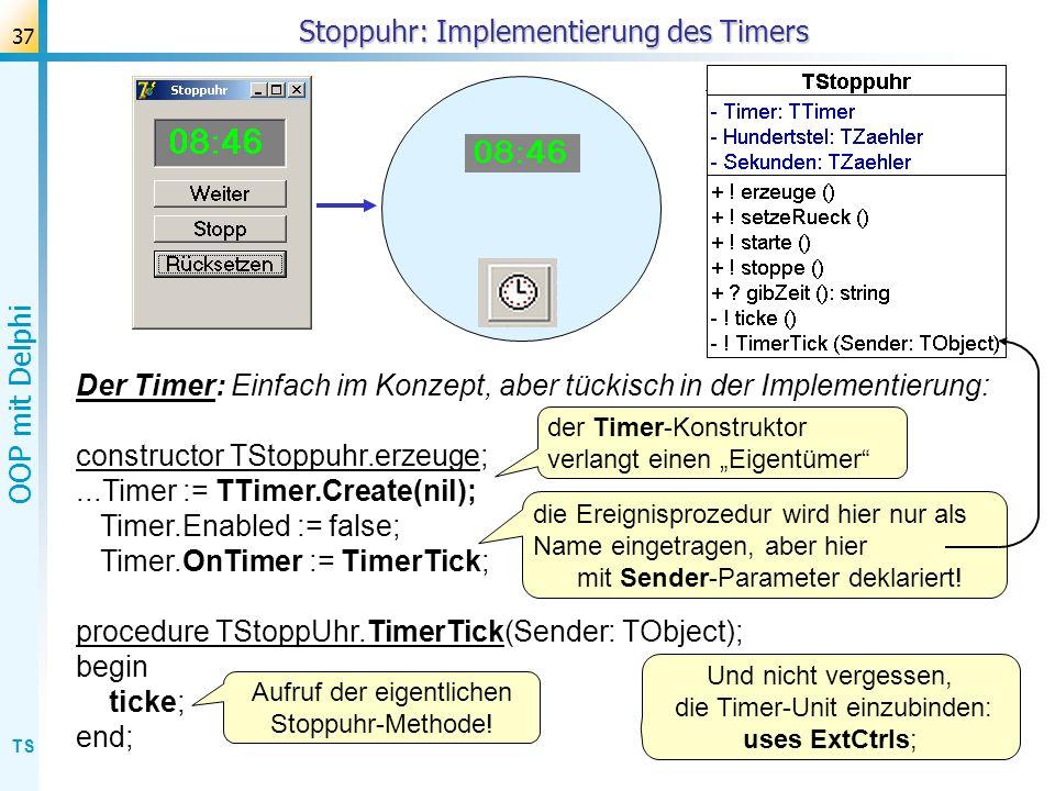 TS OOP mit Delphi 37 Stoppuhr: Implementierung des Timers Der Timer: Einfach im Konzept, aber tückisch in der Implementierung: constructor TStoppuhr.e