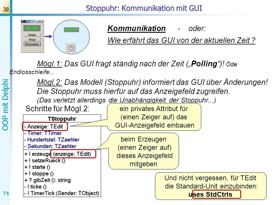 TS OOP mit Delphi 38 Stoppuhr: Kommunikation mit GUI Kommunikation - oder: Wie erfährt das GUI von der aktuellen Zeit ? Schritte für Mögl.2: Mögl.1:Da