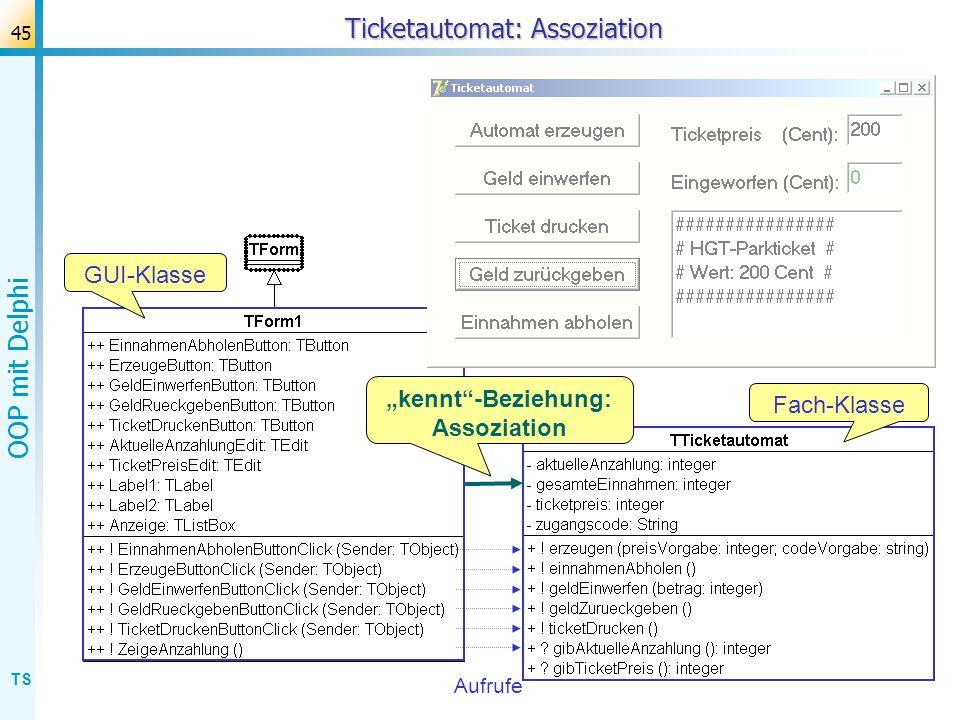 TS OOP mit Delphi 46 Ticketautomat: Units Aufrufe GUI-Klasse Fach-Klasse unit Unit1; uses Windows, Forms,...