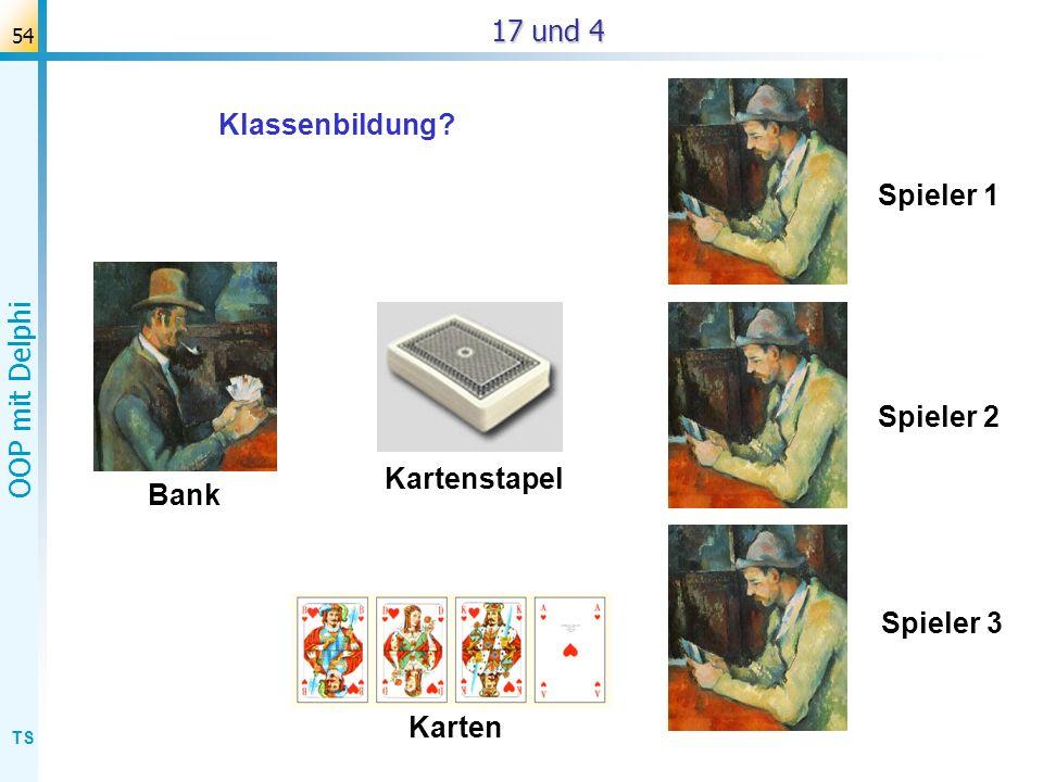 TS OOP mit Delphi 55 T 17 und 4 Bank Kartenstapel Spieler 1 Spieler 2 Spieler 3 Karten TSpieler TKartenstapel TKarte TBank Beteiligte Klassen:
