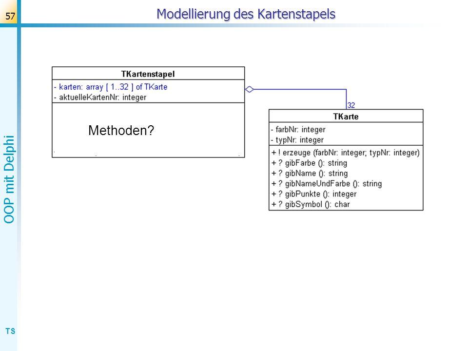 TS OOP mit Delphi 58 1.Verwenden von gegebenen Klassen: Spielkarten ziehen Vorgabe: nur diese beiden Klassen.