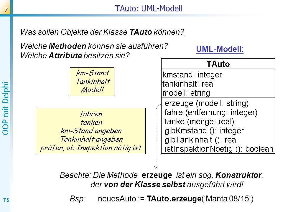 TS OOP mit Delphi 7 TAuto: UML-Modell fahren tanken km-Stand angeben Tankinhalt angeben prüfen, ob Inspektion nötig ist km-Stand Tankinhalt Modell Bea