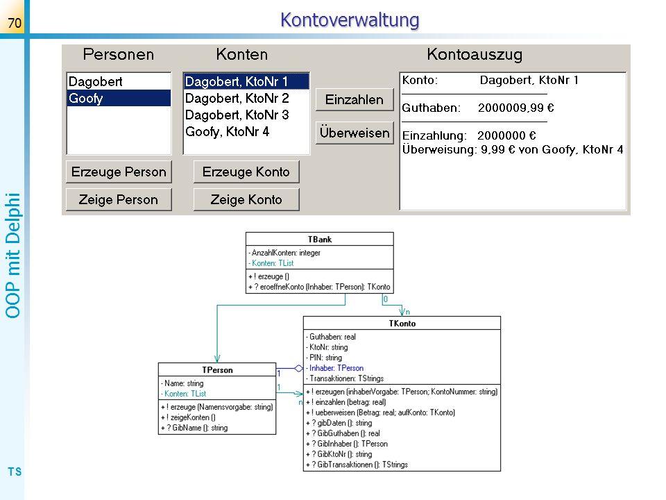TS OOP mit Delphi 71Kontoverwaltung Problem: gegenseitige kennt- Beziehungen.