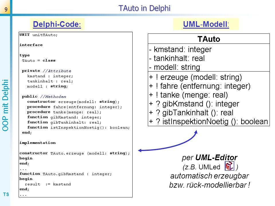 TS OOP mit Delphi 10 MVC-Konzept (strikt) mit zwei Views Controller View 1View 2 Modell verwaltet das Modell & steuert die Views