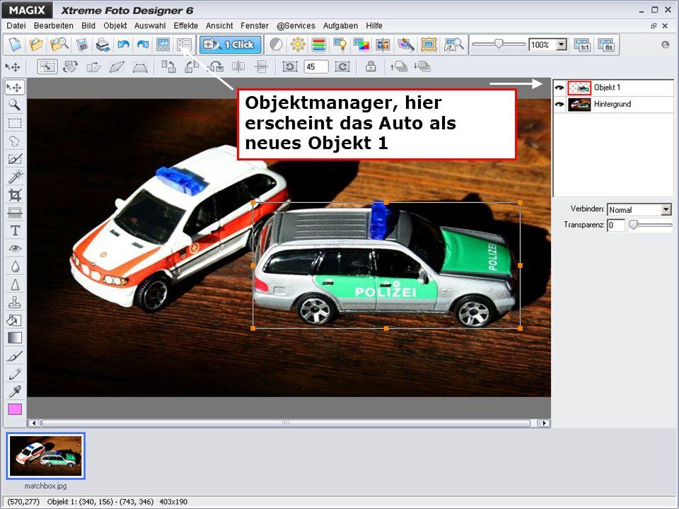 Objektmanager, hier erscheint das Auto als neues Objekt 1