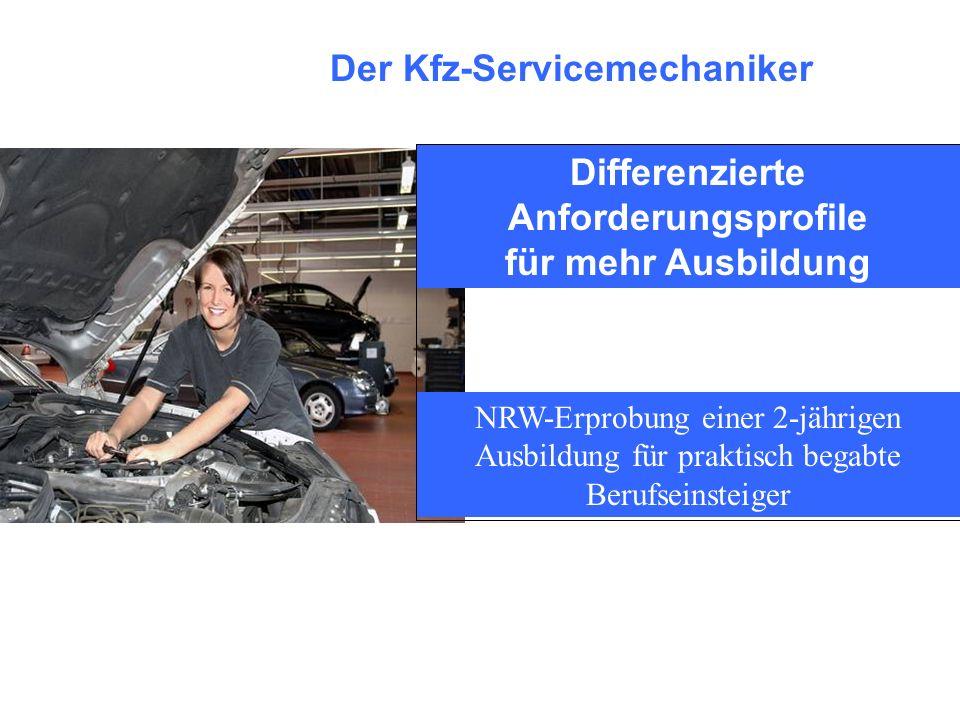 Die Kfz-Servicemechaniker werden je zur Hälfte in Fabrikatsbetrieben und Freien Werkstätten ausgebildet, wobei letztere verstärkt wieder für eine Ausbildung gewonnen wurden Versuch macht klug – Erste Erfahrungen in NRW Durch den Kfz-Servicemechaniker werden im Kfz- Gewerbe mehr Ausbildungsplätze zur Verfügung gestellt.