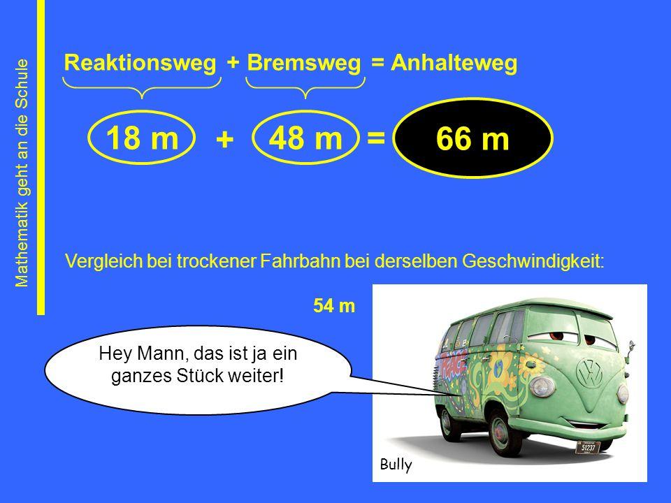 Reaktionsweg + Bremsweg = Anhalteweg 18 m48 m + = 66 m Mathematik geht an die Schule Vergleich bei trockener Fahrbahn bei derselben Geschwindigkeit: 5