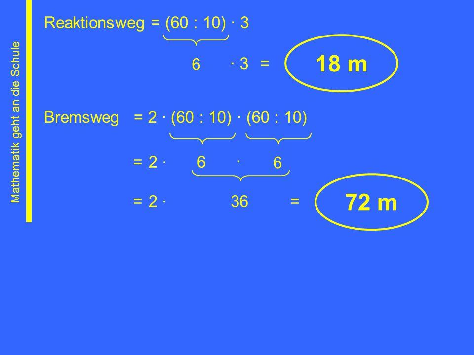 Reaktionsweg 6 18 m = (60 : 10) 3 3= Bremsweg= 2 (60 : 10) (60 : 10) 6 6 Mathematik geht an die Schule 36= = = 72 m 2 2