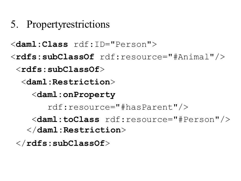 5.Propertyrestrictions <daml:onProperty rdf:resource=